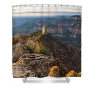 North Rim Grand Canyon Arizona Point Imperial Bathed By Sunrise Golden Light. Shower Curtain