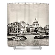 North Side Of The Thames Bw Shower Curtain