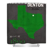 North Texas University Mean Green Denton College Town State Map Poster Series No 078 Shower Curtain