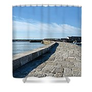 North Wall - Lyme Regis Harbour 2 Shower Curtain