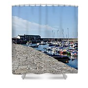 North Wall - Lyme Regis Harbour Shower Curtain