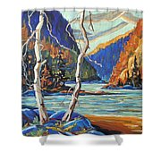 North West Lake By Prankearts Shower Curtain