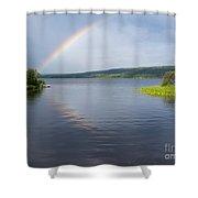 Northern Bc Calm Taiga Lake Rainbow Canada Shower Curtain