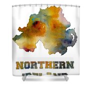 Northern Ireland Watercolor  Map Shower Curtain