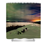 Northern Lights And City Light Pollution Night Sky Shower Curtain