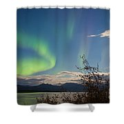Northern Lights Full Moon Over Lake Laberge Yukon Shower Curtain