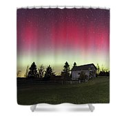 Northern Lights Over Foster Covered  Bridge Cabot Vt Shower Curtain