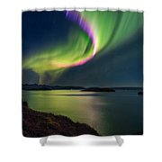 Northern Lights Over Thingvallavatn Or Shower Curtain