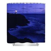Northhead Ilwaco Lighthouse Washington Coastline Shower Curtain