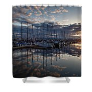Northwest Marina Sunset Sunstar Shower Curtain