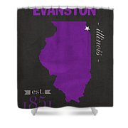 Northwestern University Wildcats Evanston Illinois College Town State Map Poster Series No 080 Shower Curtain