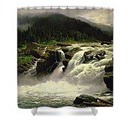 Norwegian Waterfall Shower Curtain by Karl Paul Themistocles van Eckenbrecher