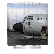 Nose Cone Detail On A Lc-130h Aircraft Shower Curtain