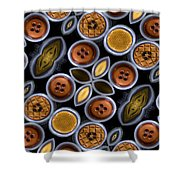 Not Your Mothers Button Box Shower Curtain by Jean Noren