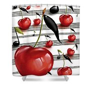 Notes Of Fruits Shower Curtain