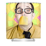 Notice Board Businessman With Crazy To-do List Shower Curtain