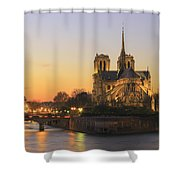 Notre Dame Cathedral At Sunset Paris France Shower Curtain