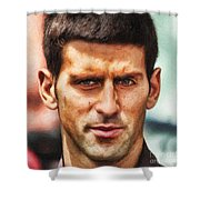 Novak Djokovic Shower Curtain by Nishanth Gopinathan