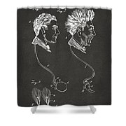 Novelty Wig Patent Artwork Gray Shower Curtain