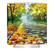 November Alley - Palette Knife Landscape Autumn Alley Oil Painting On Canvas By Leonid Afremov - Siz Shower Curtain