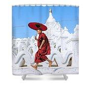 Novice Monk Jumping On White Pagoda - Mandalay - Burma Shower Curtain