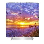 Nsb Lifeguard Station Sunrise Shower Curtain