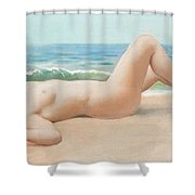 Nu Sur La Plage Shower Curtain