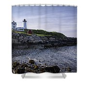 Nubble Dawn Shower Curtain by Joan Carroll