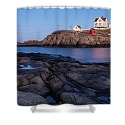 Nubble Light Along Maine's Rugged Coast York Beach Maine Shower Curtain