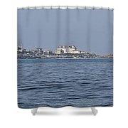 Nubble Lighthouse From Long Sands Beach Panorama Shower Curtain