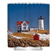 Nubble Lighthouse 3 Shower Curtain by Joann Vitali
