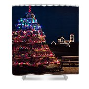 Nubble Lighthouse And Lobster Pot Tree Shower Curtain