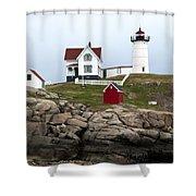 Nubble Lighthouse Cape Neddick Maine 4 Shower Curtain by Glenn Gordon