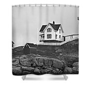 Nubble Lighthouse Cape Neddick Maine Black And White Shower Curtain