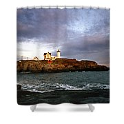 Nubble Lighthouse Shower Curtain by Skip Willits