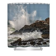 Nubble Lighthouse Waves 1 Shower Curtain by Scott Thorp