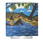 Nude And Bareback Swim Shower Curtain