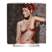 Nude French Woman Shower Curtain by Shelley Irish