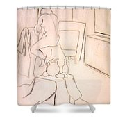 Nude Holding Her Shirt Shower Curtain
