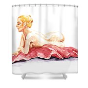 Nude Model Gesture Xiv Resting On Red Shower Curtain