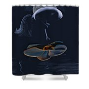 Nude On A Lilly Pad In Moonlight Shower Curtain