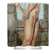 Nude On A Rampart Shower Curtain