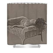 Nude On Striped Sofa Shower Curtain by Don Perino