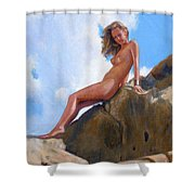 Nude On The Rocks Shower Curtain