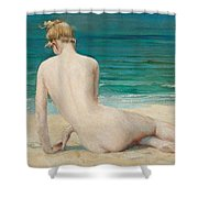Nude Seated On The Shore Shower Curtain
