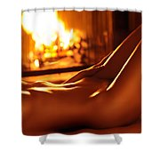Nude Shiny Woman Body In Front Of Fireplace Shower Curtain