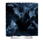 Nude Silhouette In Moonlight Shower Curtain