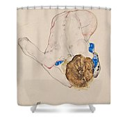 Nude With Blue Stockings Bending Forward Shower Curtain