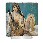 Nude With Guitar Shower Curtain