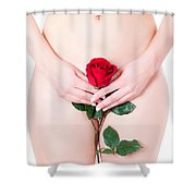 Nude With Red Rose Shower Curtain